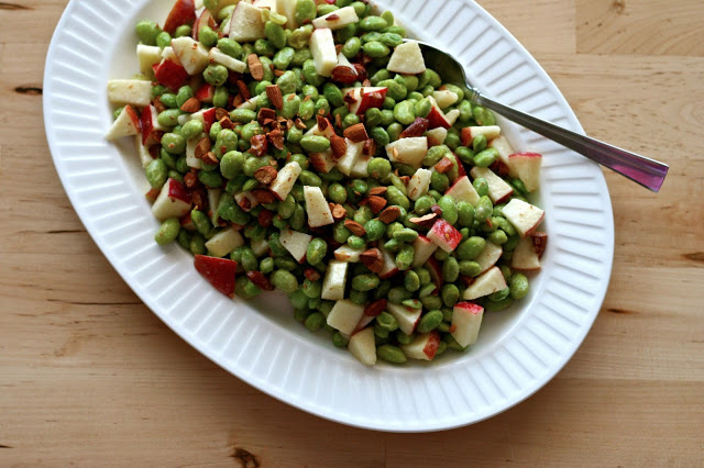 Edamame & apple salad with tahini-honey sauce