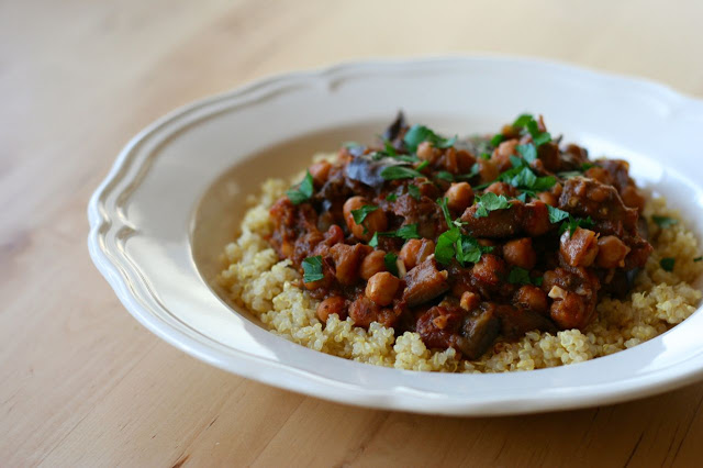 Lebanese-inspired braised eggplant with chickpeas