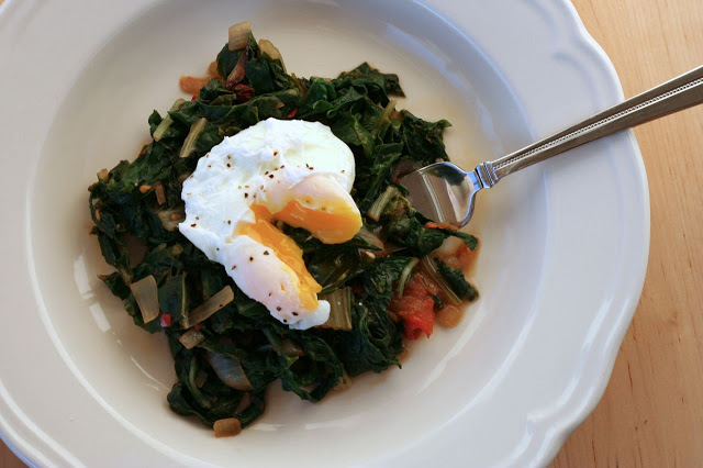 Spicy Braised Greens with Poached Egg