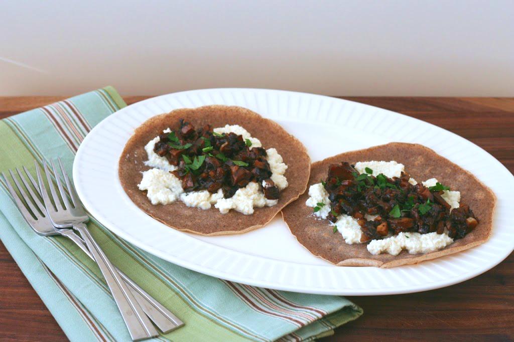 Buckwheat Crêpes with Balsamic Mushrooms & Ricotta