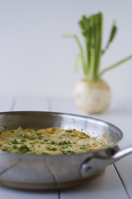 Turnip Frittata with Double Garlic