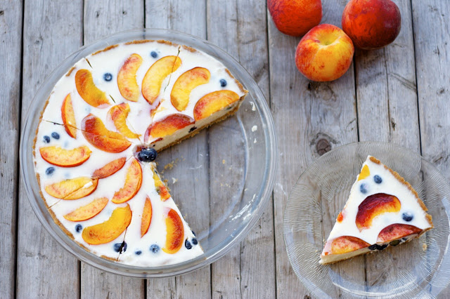 Blueberry-Peach Yogurt Pie with Whole-Wheat Crust