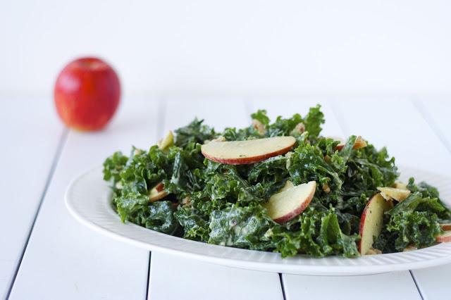 Raw Kale Salad with Creamy Avocado Dressing
