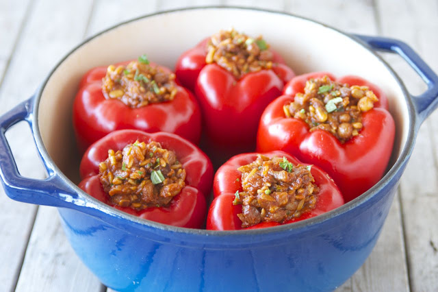Greek-Style Vegan Stuffed Peppers