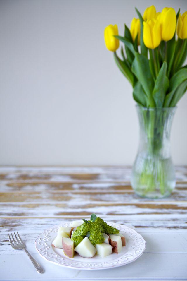 Potato Salad with Spicy Cilantro-Walnut Pesto