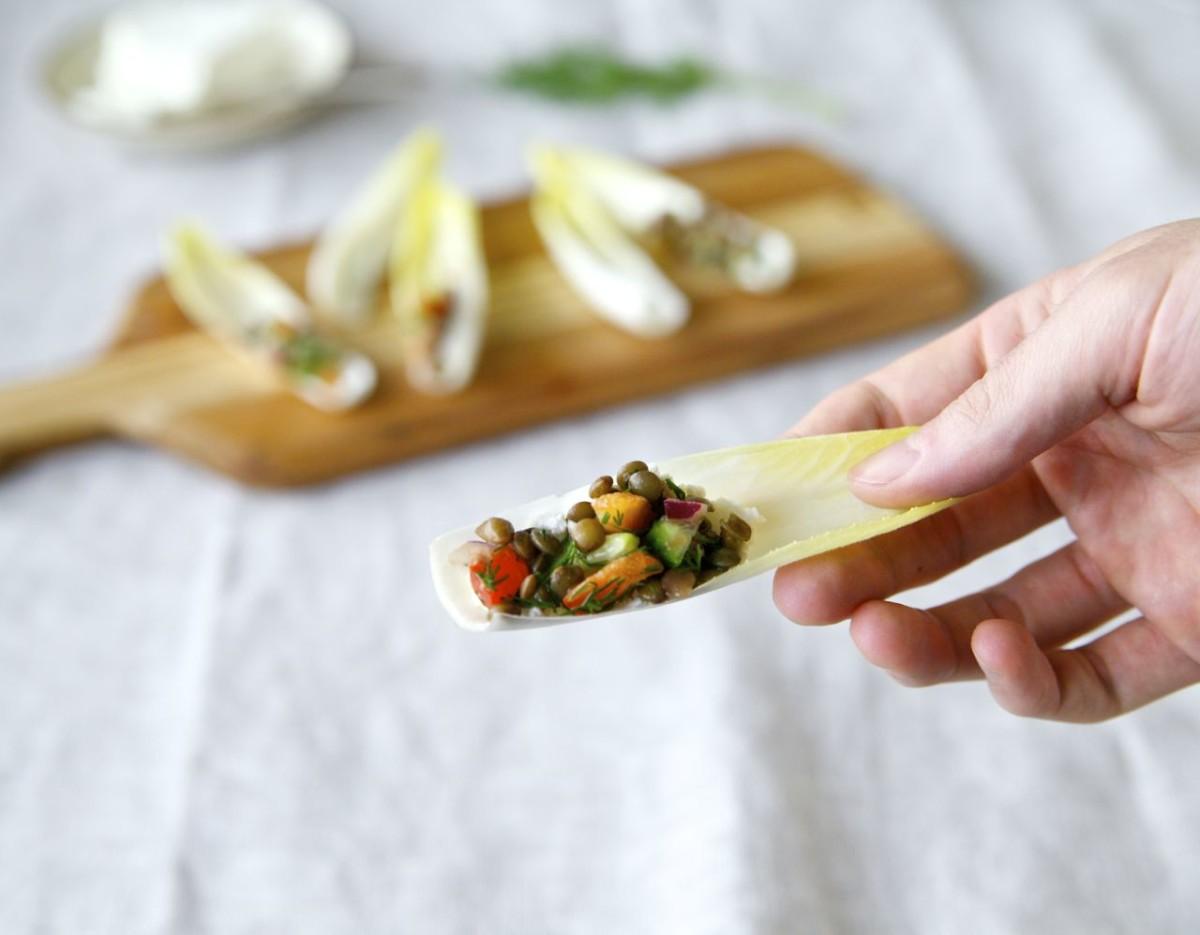 Endive Bites with Tangy Lentil Salad