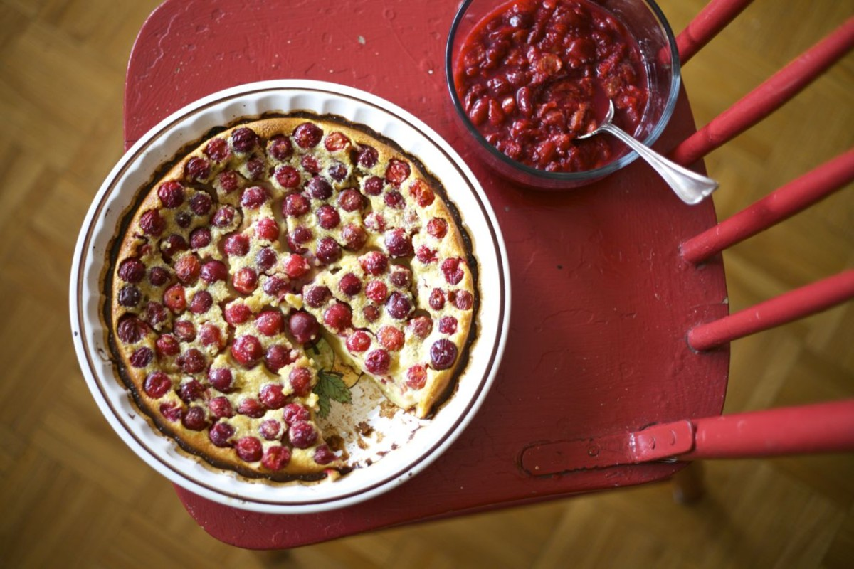 Sour cherry clafoutis, sour cherry & rhubarb compote